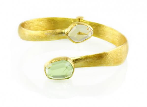 Green Gold Dust Spiral Bracelet new