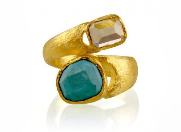 Lovely Wrap Ring Turquoise and Green Amethyst - Scatterpin KK37